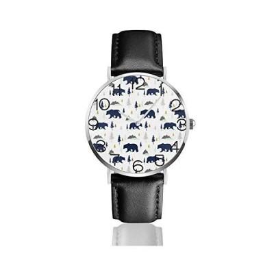 腕時計 クマの影 ウオッチ クラシック カジュアル 防水 クォーツムーブメント レザー ベルトビジネス オフィス