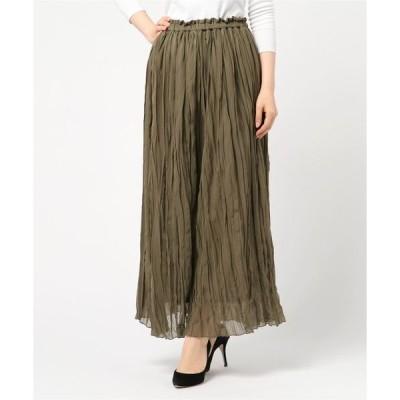 スカート シフォンランダムプリーツマキシスカート
