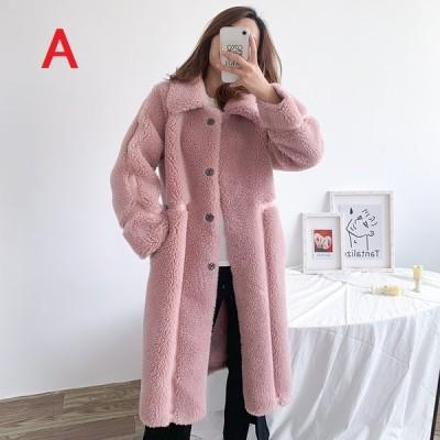 折襟 レディース フェイクファー ロング丈コート アウター 暖かい 冬物 防寒 毛皮コート 上質 上着 ファッション ファーコート ゆったり