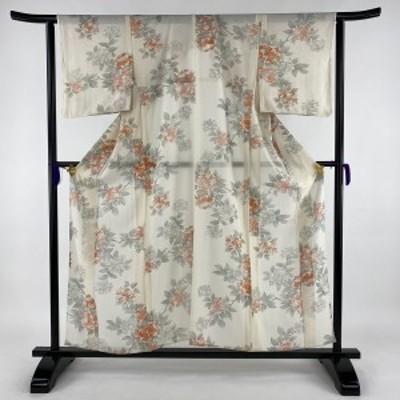 小紋 美品 優品 絽 紫陽花 銀彩 クリーム 薄物 身丈155cm 裄丈62.5cm S 正絹 中古
