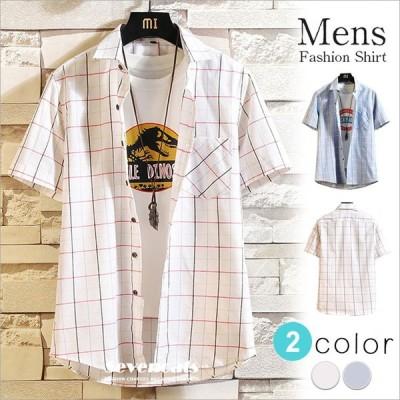 チェックシャツ メンズ シャツ 半袖 カジュアルシャツ 胸ポケット ビジネスシャツ チェック柄 ボタンダウン トップス 開襟シャツ 夏服 送料無料