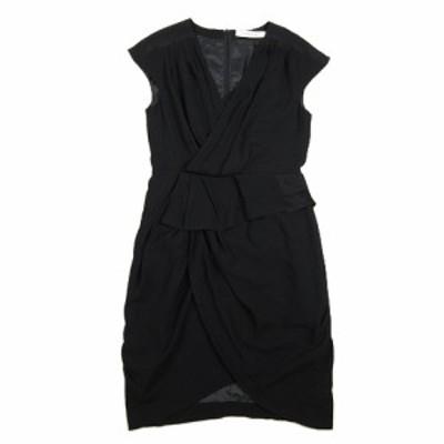 【中古】フリッカ THE DRESS BY FLICKA ワンピース トリアセ シフォン フレンチスリーブ カットソー 0 ブラック 黒