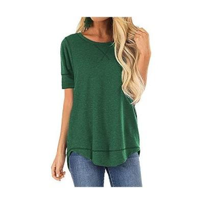 POGTMM レディース 夏 Tシャツ トップス ゆったり カジュアル VノッチTシャツ 半袖 コットンTシャツ チュニックトップス US サイズ: