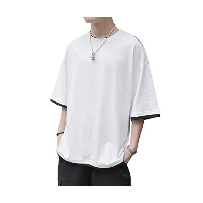 Fuushspoy メンズTシャツ 夏服 半袖 メンズ ゆったりシャツ 綿100% インナーシャツ 快適な 吸汗速乾 薄手 伸縮性 涼しい