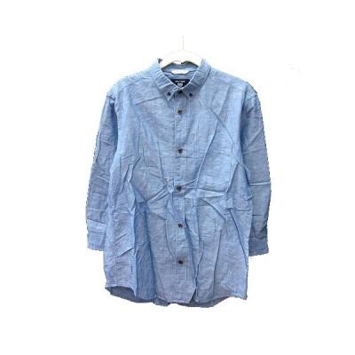 【中古】コムサコミューン COMME CA COMMUNE ボタンダウンシャツ 七分袖 麻混 リネン混 M 青 ブルー /MN メンズ 【ベクトル 古着】