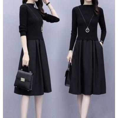 シンプル 通勤 単色 バルーンスカート かわいい 切り替え 上品  ワンピース ワンピース 異素材ワンピース フォーマル ゆったり オフィス