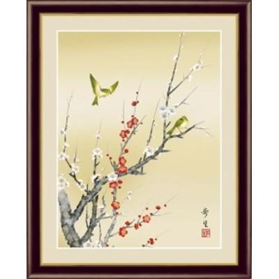 【F6】花鳥画春飾り額 紅白梅に鶯 北山歩生 和の風情 モダン インテリア 安らぎ 潤い 壁掛け [送料無料]G4-BK064