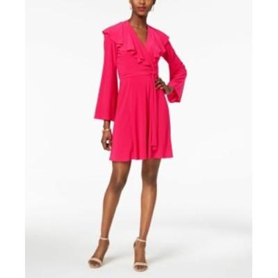 taylor テイラー ファッション ドレス Taylor NEW Deep Pink Womens Size 6 Ruffled Bell-Sleeve Jersey Wrap Dress