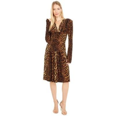 カマリカルチャー レディース ワンピース トップス V-Neck Long Sleeve Shirred Waist Dress with Shoulder Pads