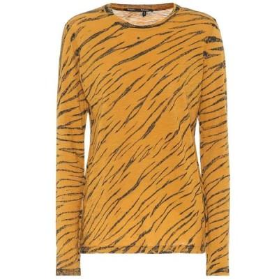 プロエンザ スクーラー Proenza Schouler レディース 長袖Tシャツ トップス Animal-print cotton T-shirt Ochre/Black Diagonal