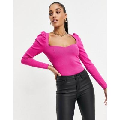 エイソス ASOS DESIGN レディース ニット・セーター トップス Jumper With Sweetheart Neck And Puff Shoulder Detail In Pink ピンク