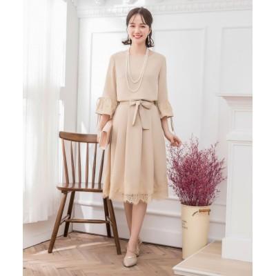 【ドレス スター】 フレアスカートとブラウスの2点セット結婚式パーティードレス レディース ベージュ XXLサイズ DRESS STAR