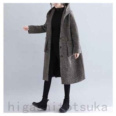 コート キルティングコート レディース 裏起毛 チェック柄 アウター フード付 体型カバー 大きいサイズ 30代 40代 50代