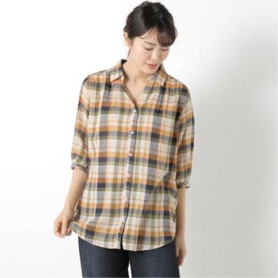肌触りのいい綿混素材◎スキッパーシャツチュニック オレンジ M L LL 3L