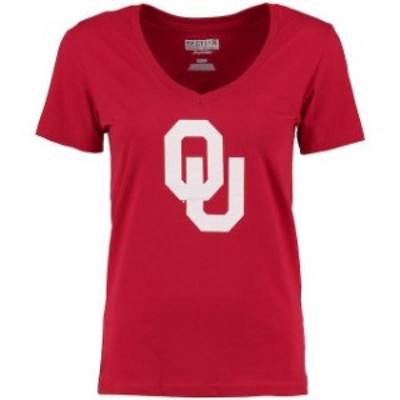 Majestic マジェスティック スポーツ用品  Majestic Oklahoma Sooners Womens Crimson Local V-Neck T-Shirt