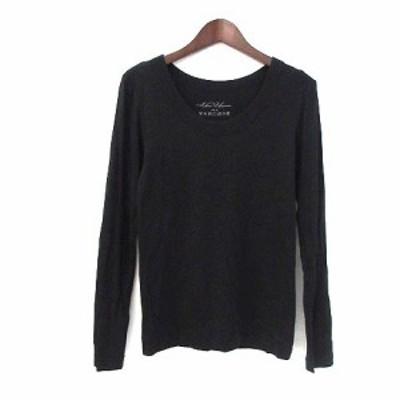 【中古】ナノユニバース nano universe Tシャツ 38 M 黒 ブラック 長袖 無地 シンプル レディース