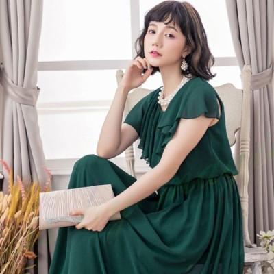 パーティードレス 結婚式 二次会 ワンピース ドレス rose 20代 30代 ロング パーティドレス ロングドレス シフォン フレア袖 フレアドレス