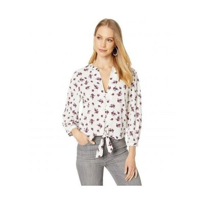1.STATE ワンステート レディース 女性用 ファッション ブラウス Long Sleeve Split-Neck Tie Waist Garden Sonn - Soft Ecru Multi