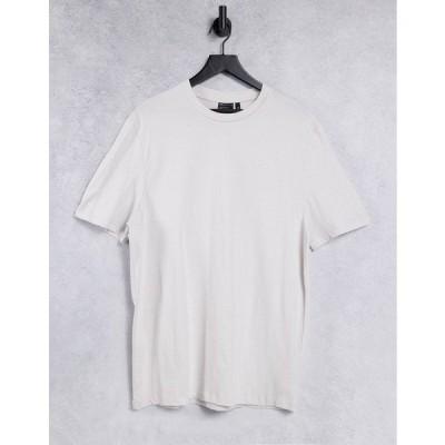エイソス メンズ Tシャツ トップス ASOS DESIGN organic t-shirt with crew neck in off white Windchime