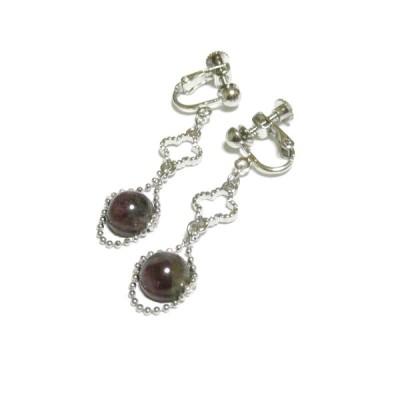 【Klee/クレー】トルマリン(8mm丸珠)とクローバーのイヤリング