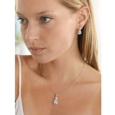 Mariell Elegant Pear-Shaped Cubic Zirconia Wedding Necklace & Earrings