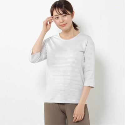 プレミアムコットン7分袖Tシャツ(無地・ボーダー) サックス×オフ M L LL
