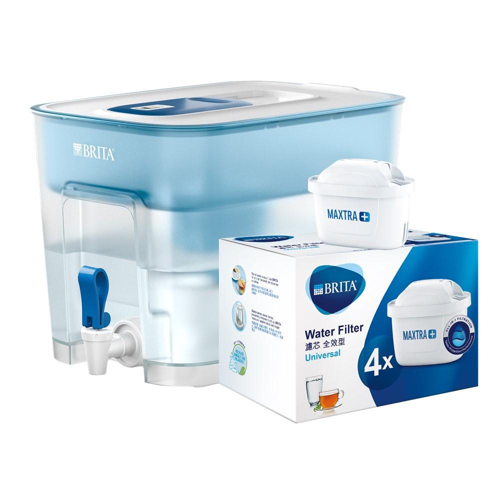 【德國BRITA】Flow濾水箱(藍)+全效型濾芯4入_加贈一芯(共6芯)