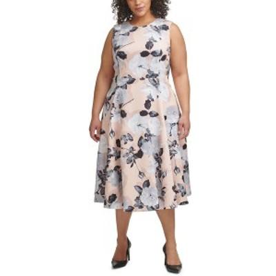 カルバンクライン レディース ワンピース トップス Plus Size Floral-Print A-Line Dress Blush Multi