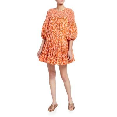 サンク ア セプト レディース ワンピース トップス Rika Smocked Billowed-Sleeve Dress