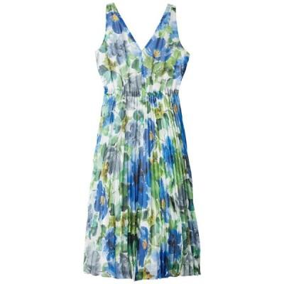 マギーロンドン レディース ワンピース トップス Watercolor Printed Chiffon A-Line Dress w/ Pleated Skirt
