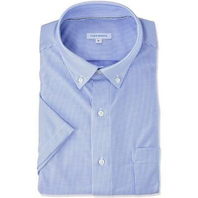 [フレックスジャパン] ノーアイロン 吸水速乾 ストレッチ 半袖 ニット ワイシャツ DXFS69 メンズ サックス01 スリム体 半袖ボタンダウン