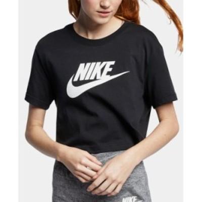 ナイキ レディース Tシャツ トップス Women's Sportswear Cotton Logo Cropped T-Shirt Black