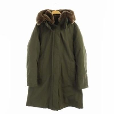 【中古】ウールリッチ WOOLRICH  60/40 RAMAR CLOTH ラビットファー フード付 ダウンコート アウター M カーキ 緑