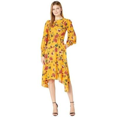 ドナモーガン レディース ワンピース トップス Long Sleeve Georgette Fit-and-Flare with Asymmetrical Hem Dress