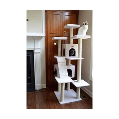 [新品]Beige Deluxe 77 Classic Tower Condo House Cat Tree Climbing Scratcher Covered with faux fleece posts are wrapped in 100% cured s