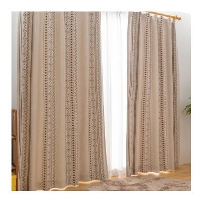 日本製 厚地カーテン 幅100〜200 丈90〜230 セミオーダー ウールライク ネイティブ柄  形状記憶 遮光 おしゃれ ウォッシャブル 代引不可