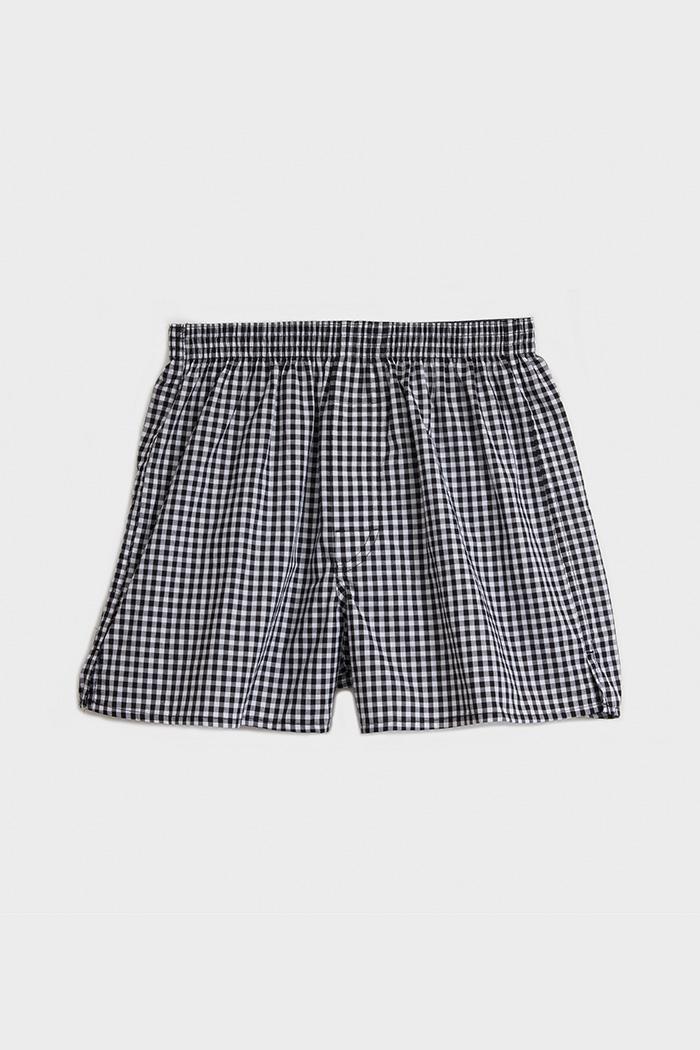 (男款)專職格紋.平織純棉四角內褲(白/黑細格)