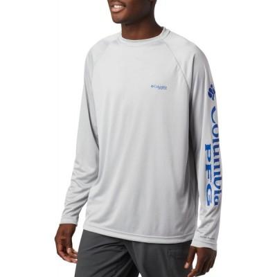 コロンビア Columbia メンズ 長袖Tシャツ トップス PFG Terminal Tackle Long Sleeve Shirt (Regular and Big & Tall) Cool Grey/Vivid Blue Logo