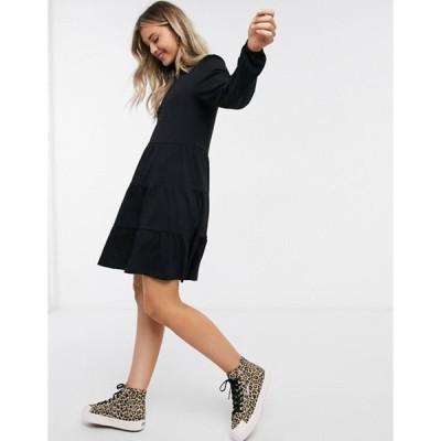 エイソス レディース ワンピース トップス ASOS DESIGN smock mini dress with tiered hem and long sleeves in black