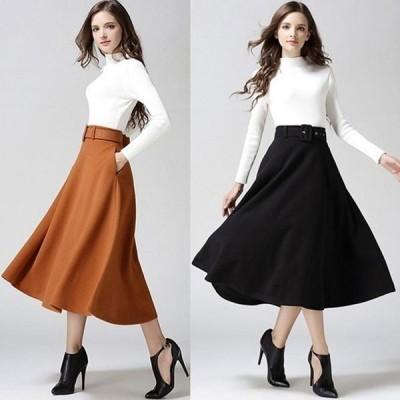 スカート4色 レディース フレア Aライン カジュアル 新作 上品 女性 お出かけ 普段着き 通勤 OL カジュアル 大きいサイズ ロング ベルト付き