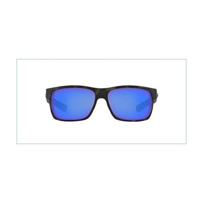 Costa Del Mar Men's Half Moon Polarized Rectangular Sunglasses, Ocearch Shiny Tiger Shark/Grey Blue Mirrored Polarized-580G, 60 mm並行輸入品