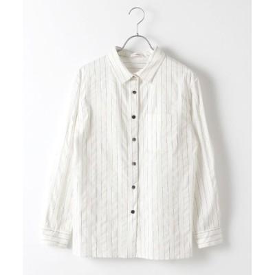 Verseau/ヴェルソー {洗える}ストライプシアサッカーベーシックシャツ シロ フリー