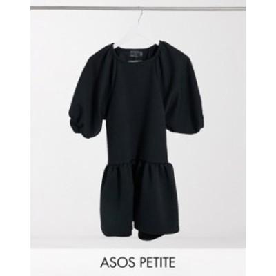 エイソス レディース ワンピース トップス ASOS DESIGN Petite quilted mini smock with crew neck and pep hem in black Black