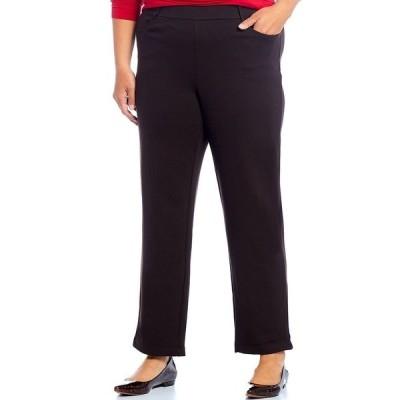イントロ レディース カジュアルパンツ ボトムス Plus Size Stella Double Knit Slim Straight Leg Pull-On Pants Dark Chocolate