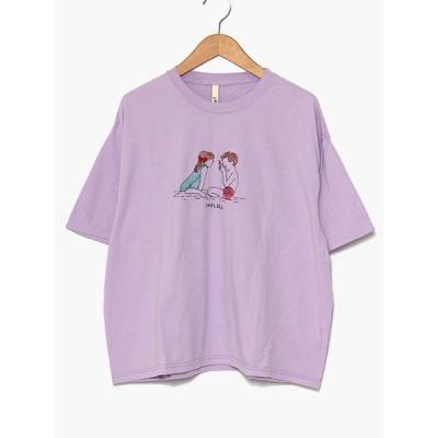 チェルシーフラミンゴ CHELSEA FRAmingo Tシャツ レディース 半袖 刺繍 パープル フリーサイズ KIDS T -PURPLE-