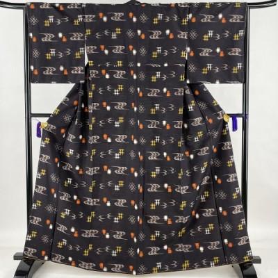 紬 美品 秀品 つばめ 井桁絣 茶紫 袷 164cm 67cm M 正絹 中古