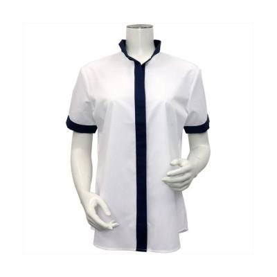 (BRICKHOUSE/ブリックハウス)ウィメンズシャツシャツ 半袖 形態安定  イタリアンカラー  チェック織柄/レディース シロ
