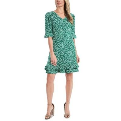 セセ ワンピース トップス レディース Sakura Floral-Print Ruffled Dress Luxe Green