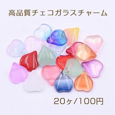 高品質チェコガラスチャーム 花びら 横穴 13×15mm 全20色
