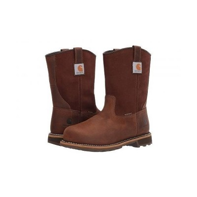 "Carhartt カーハート メンズ 男性用 シューズ 靴 ブーツ 安全靴 ワーカーブーツ Traditional 10"" Pull-On Waterproof Soft Toe - Bison Brown Oil Tan"